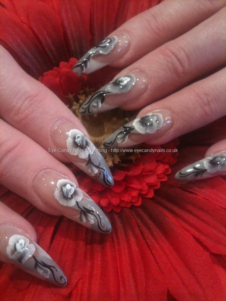 Stiletto Nails With Gray French Tip Manicure And Black And White One