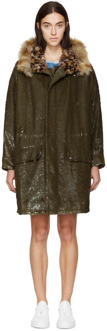 Ashish: Khaki Sequined & Layered Coat | SSENSE