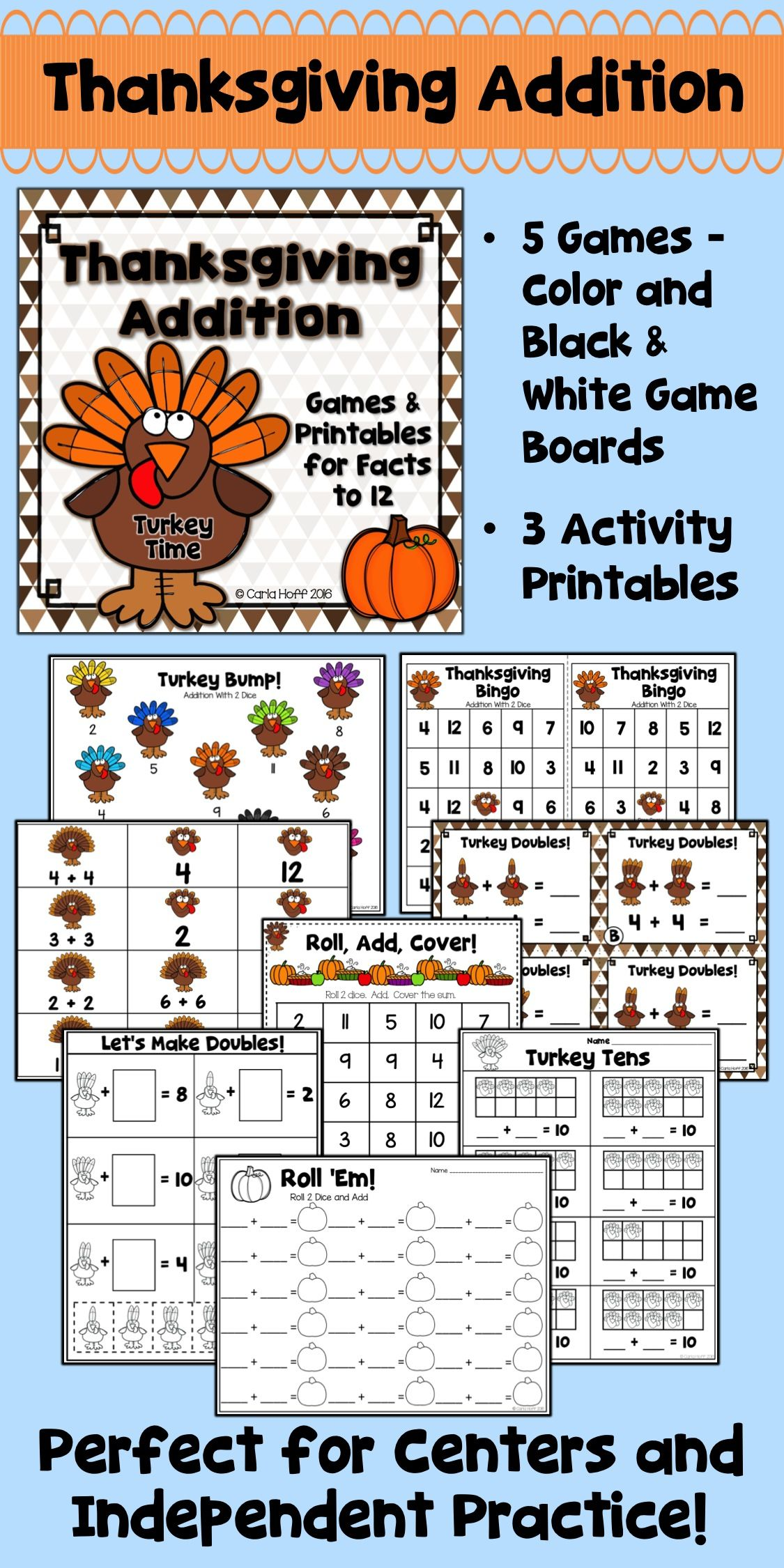 Thanksgiving Addition Games And Worksheets For Addition To
