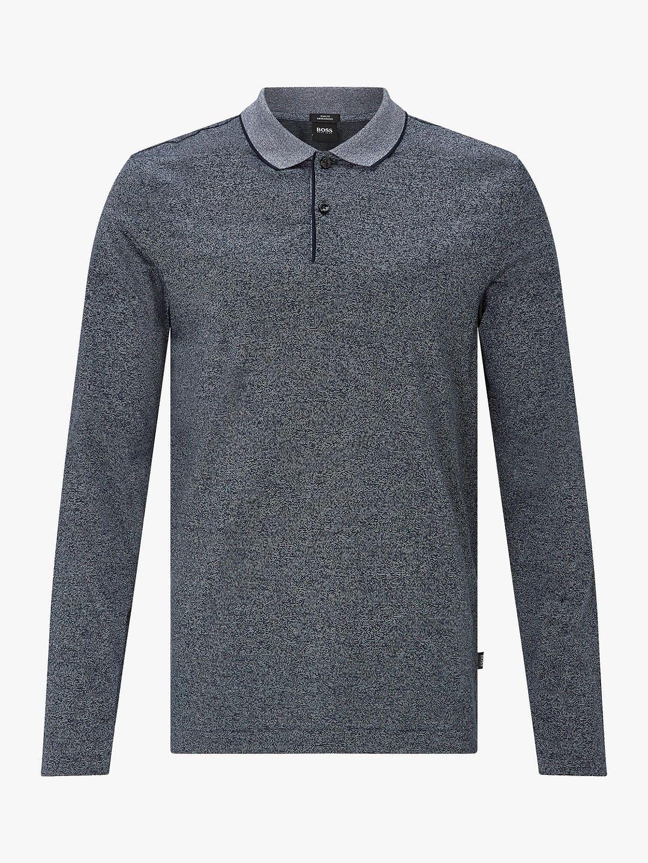 6ef2d7f3d3f4 BuyBOSS Mouline Fine Knit Polo Shirt, Open Blue, L Online at johnlewis.com