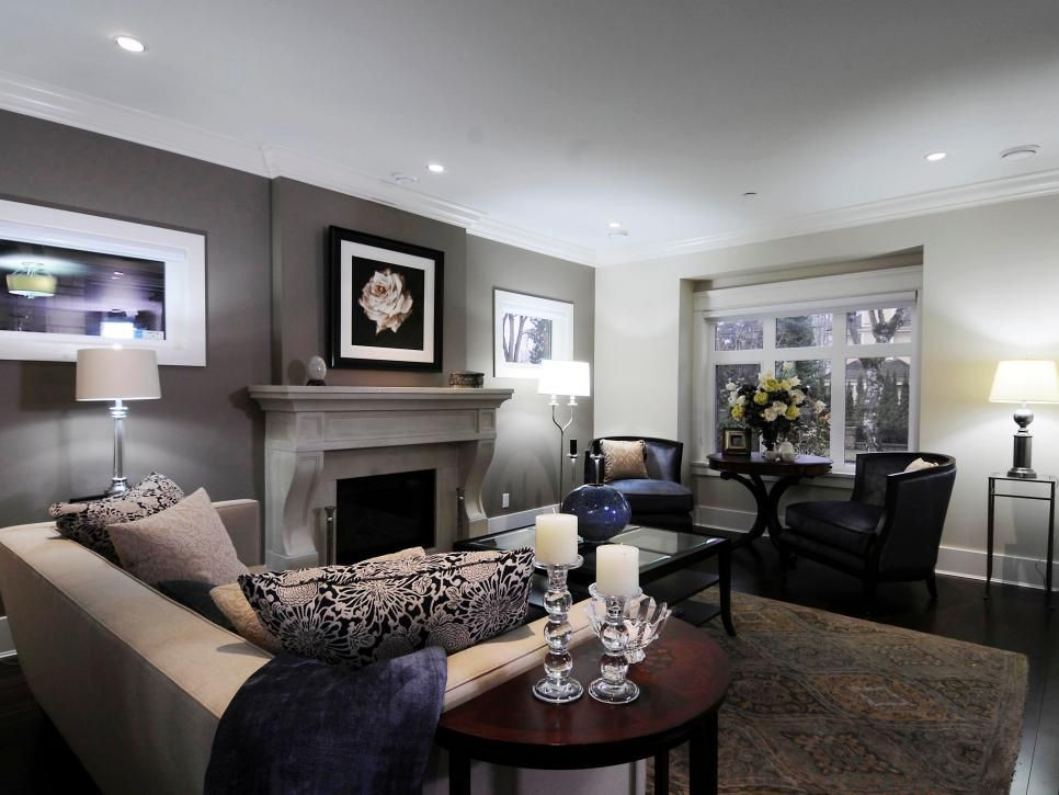 This Living Room Features A Dark Gray Accent Wall Situated Behind