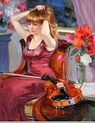 """Musical Pause"" by Vladimir Volegov, 2007, painting, 61x76 cm, oil on canvas"