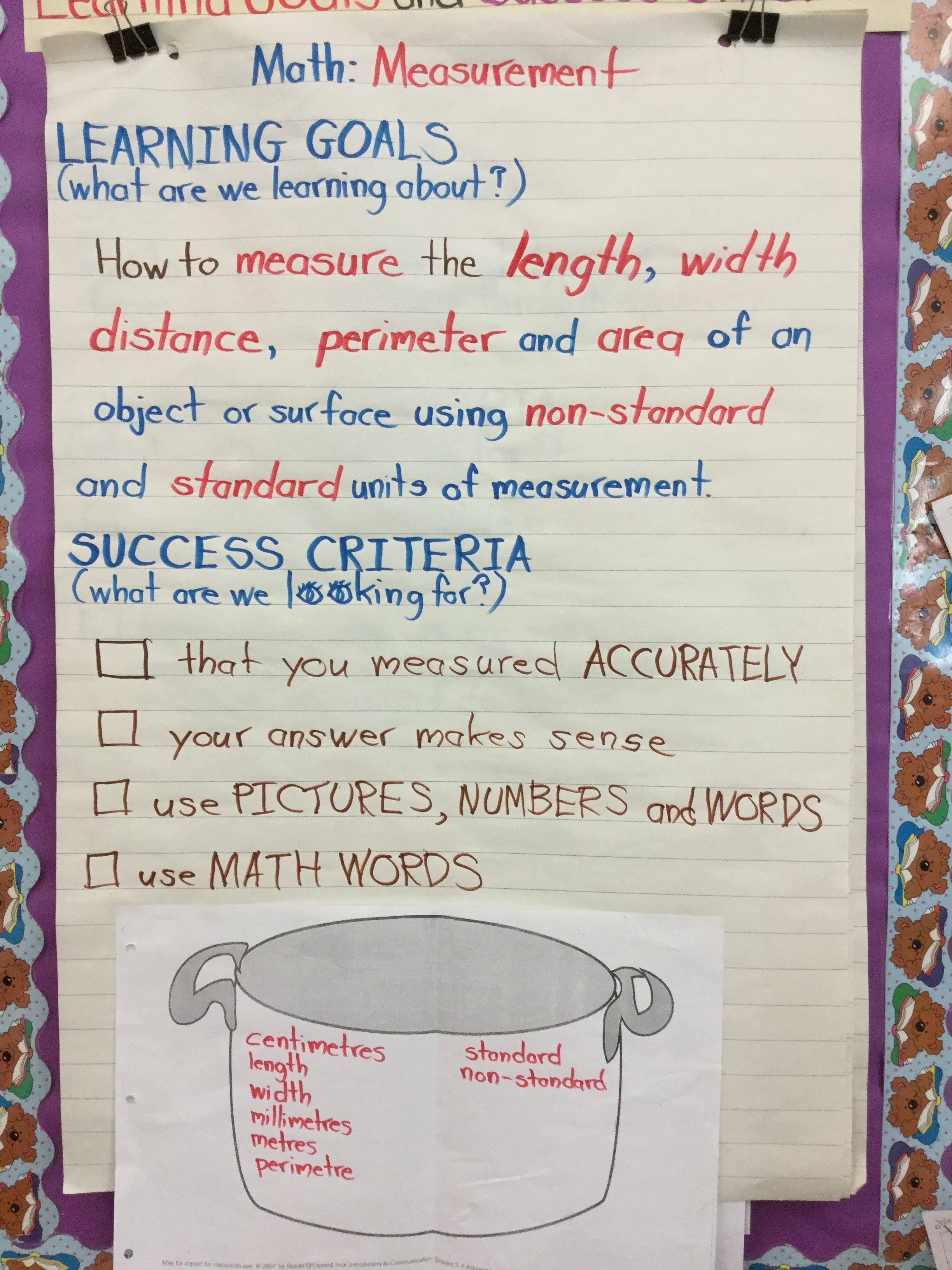Learning Goals Amp Success Criteria Math Measurement