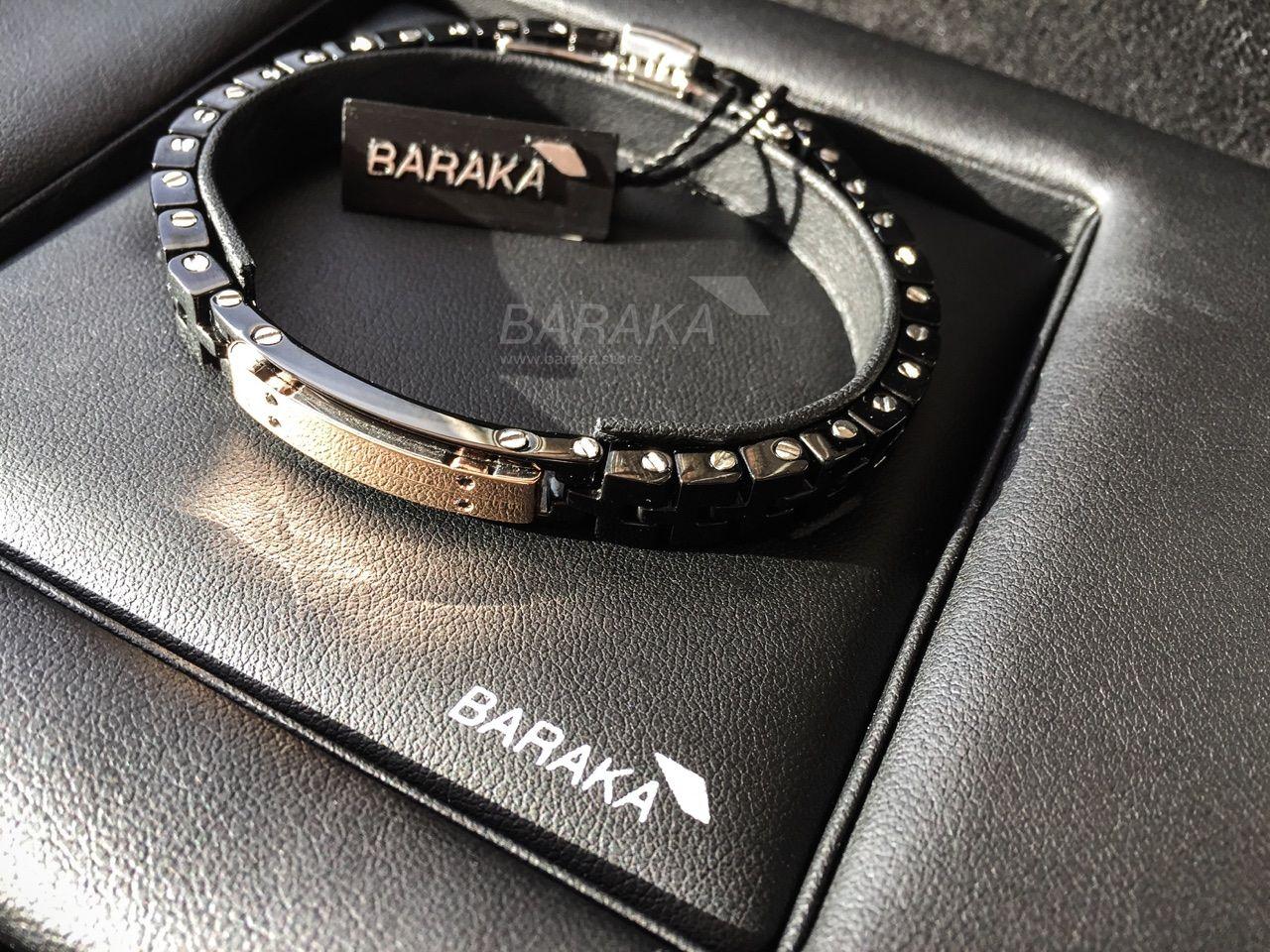 Мужской браслет Baraka BR26117 из нержавеющей стали, черного PVD, черной  керамики и розового золота 0542976922d