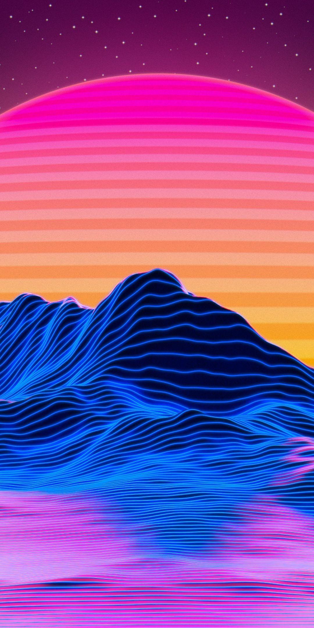 1080x2160 Mountains, landscape, retro art, big sun, sunset