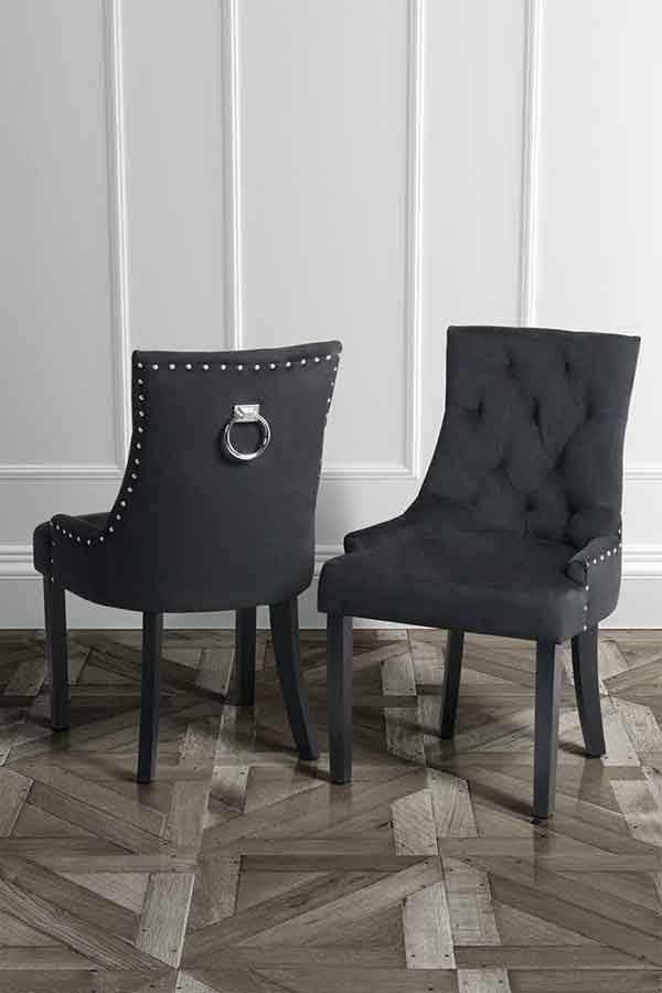ring back dining chair design vitra torino black velvet with stud detailing and