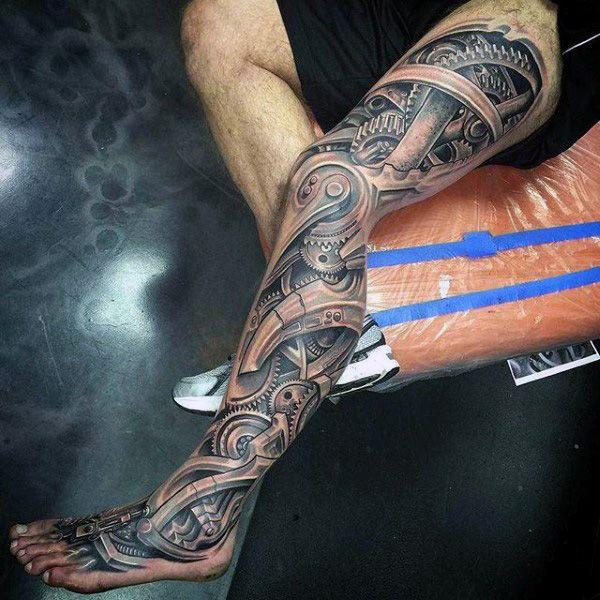 mens full legs realistic grey gears tattoo skink pinterest gear tattoo tattoos for men. Black Bedroom Furniture Sets. Home Design Ideas