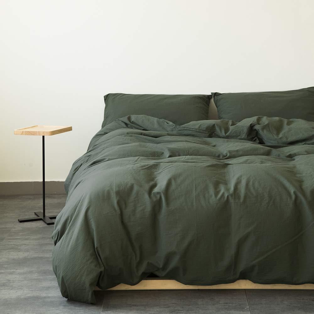 Washed Cotton Duvet Cover Dark Green