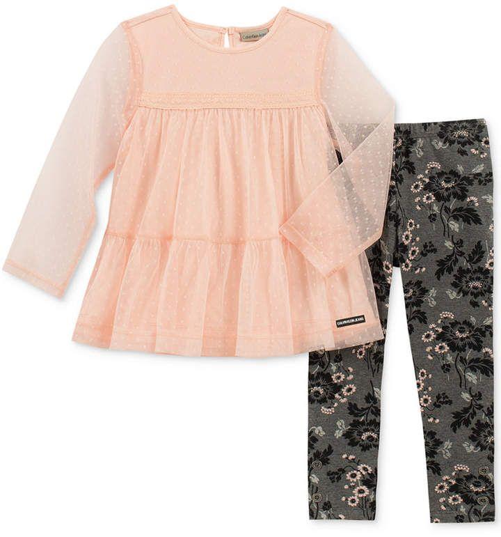 8b8e26f4f448b Calvin Klein Toddler Girls 2-Pc. Layered-Look Tunic & Leggings Set ...