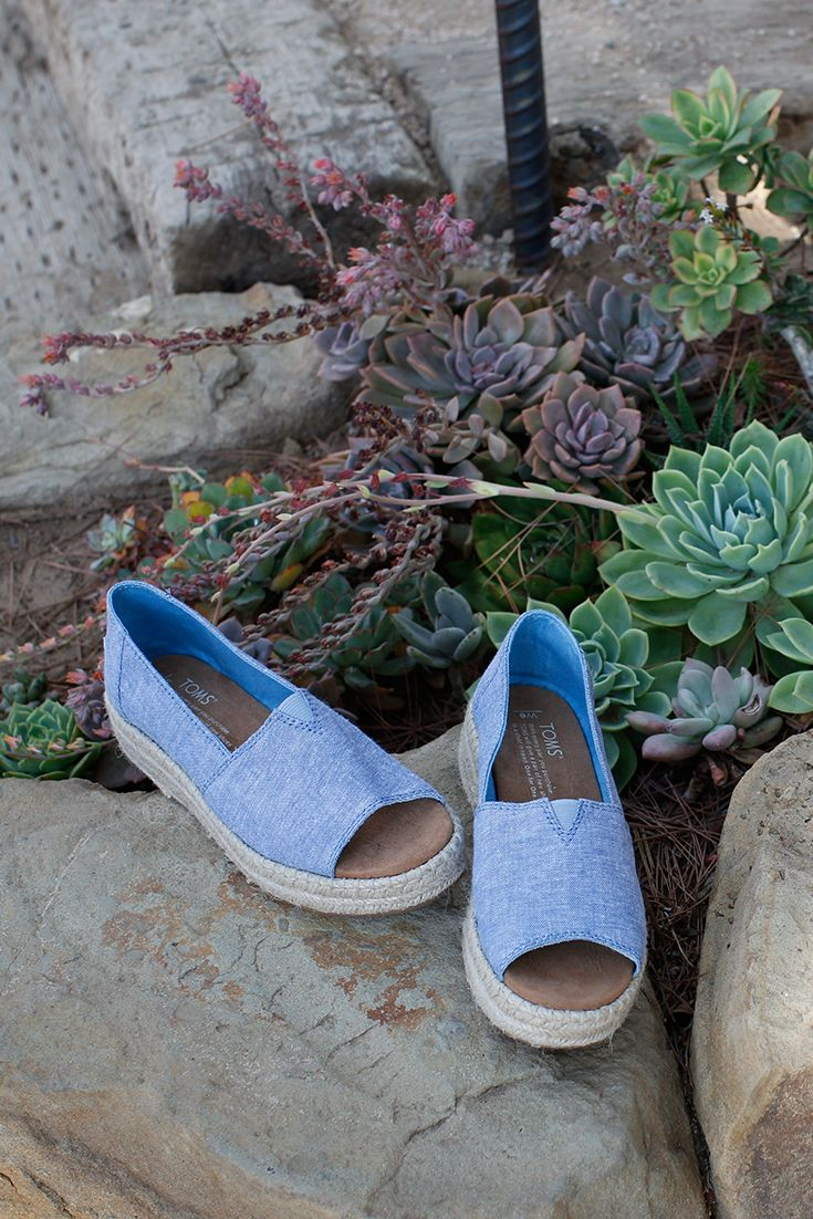 038ed3eeefd8 Platform ✓ Open toe ✓ Espadrille ✓ Warm weather ready ✓ TOMS Blue Chambray  slip-ons.