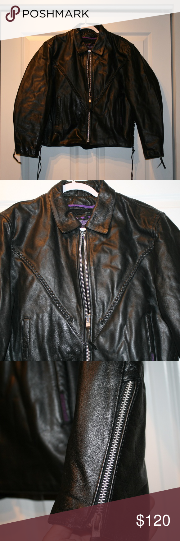 Interstate Leather Sz L Lined Motorcycle Jacket Jackets Motorcycle Jacket Leather Jacket [ 1740 x 580 Pixel ]