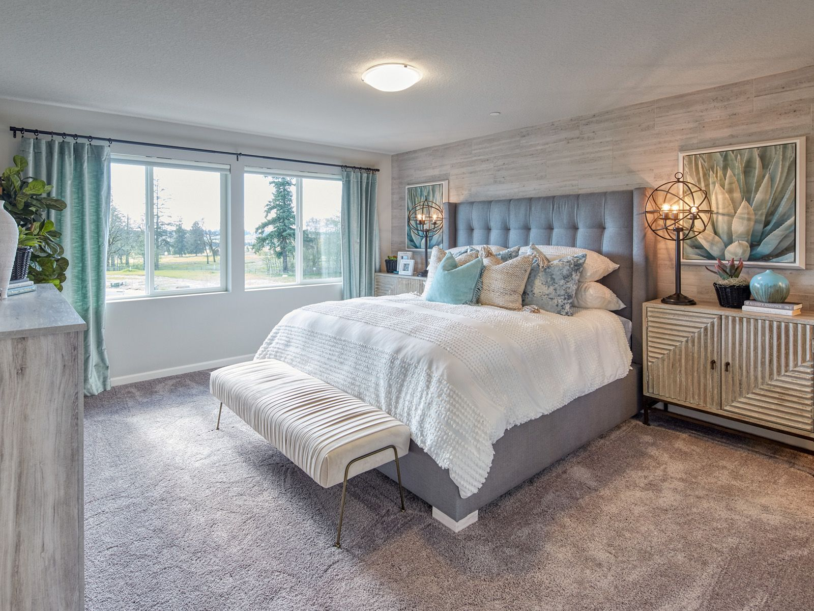 The Burlington master bedroom has lots of space and a huge
