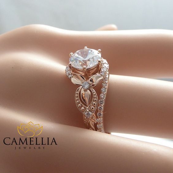 Unique Moissanite Engagement Ring Set 14K Rose Gold Engagement Rings Vintage Floral Moissanite