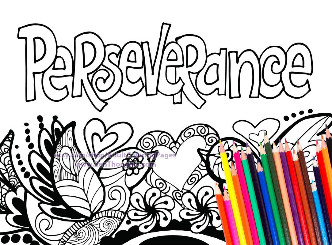 Printable Coloring Page Perseverance By Adultcoloringpages