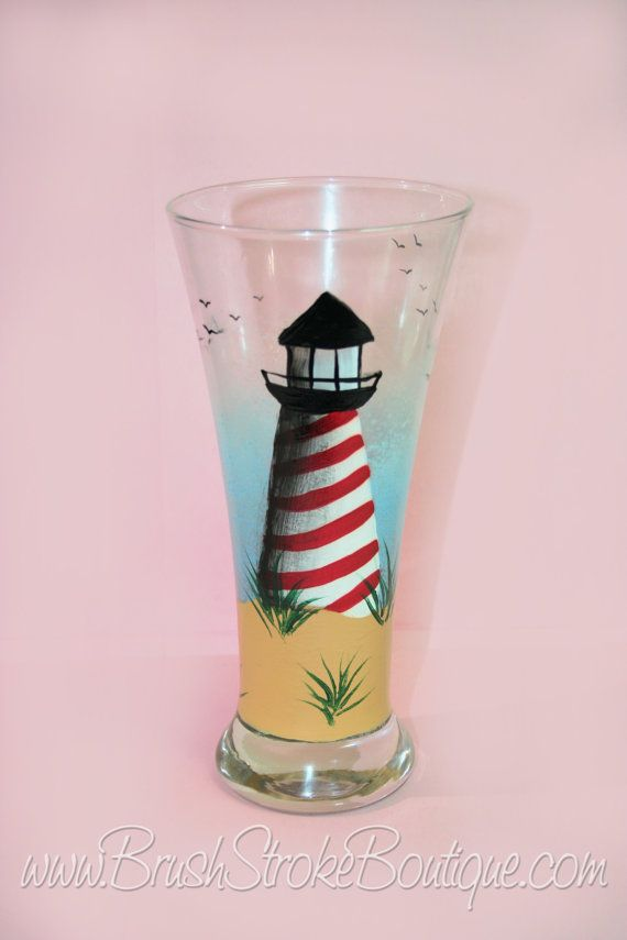 Hand Painted Wine Glass - Lighthouse - Personalized and Custom Wine Glasses for Birthday, Wedding, Party, Special Occasions
