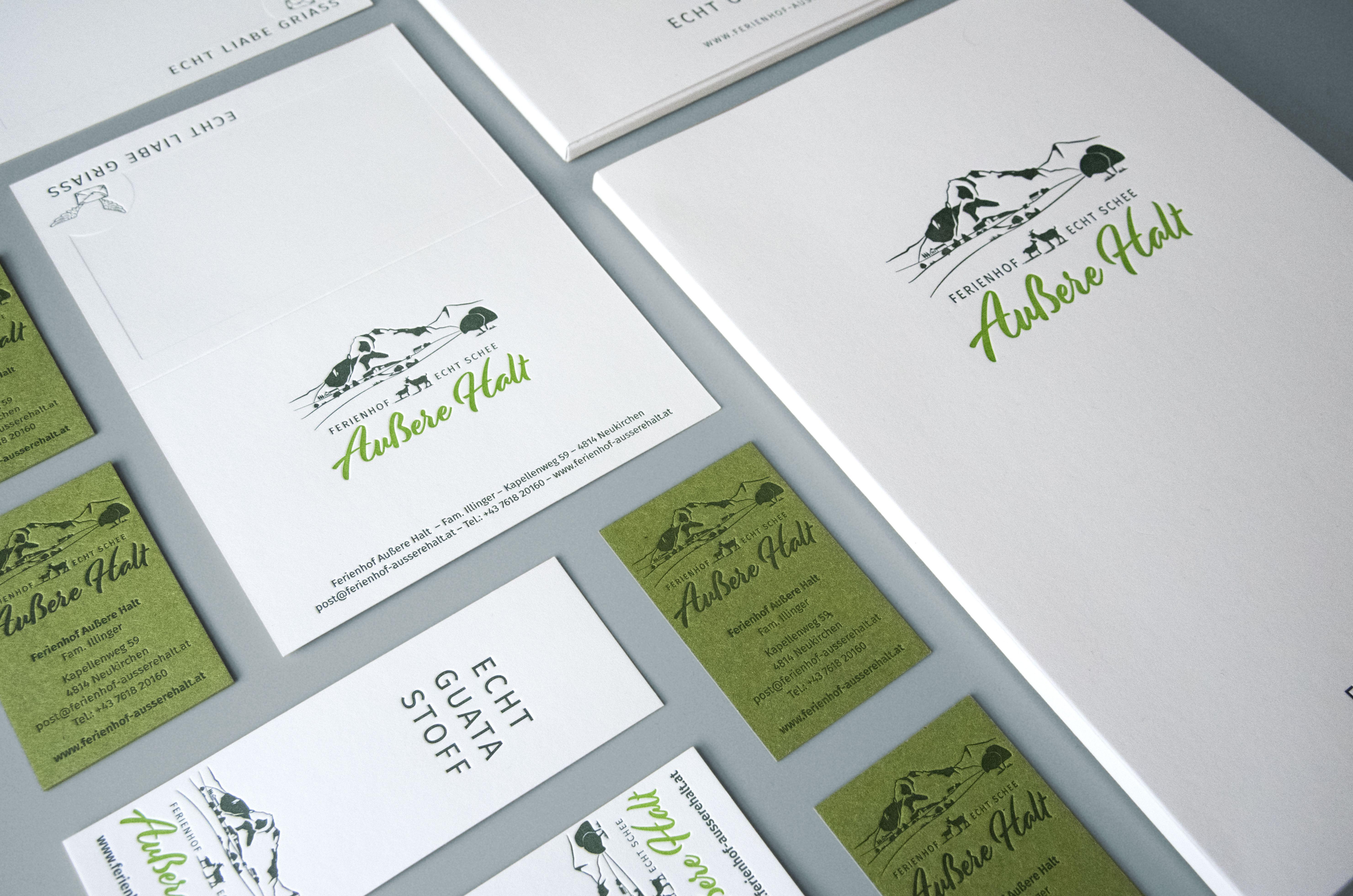 ECHT GUATA STOFF LetterpressVisitenkarten, Mappe und