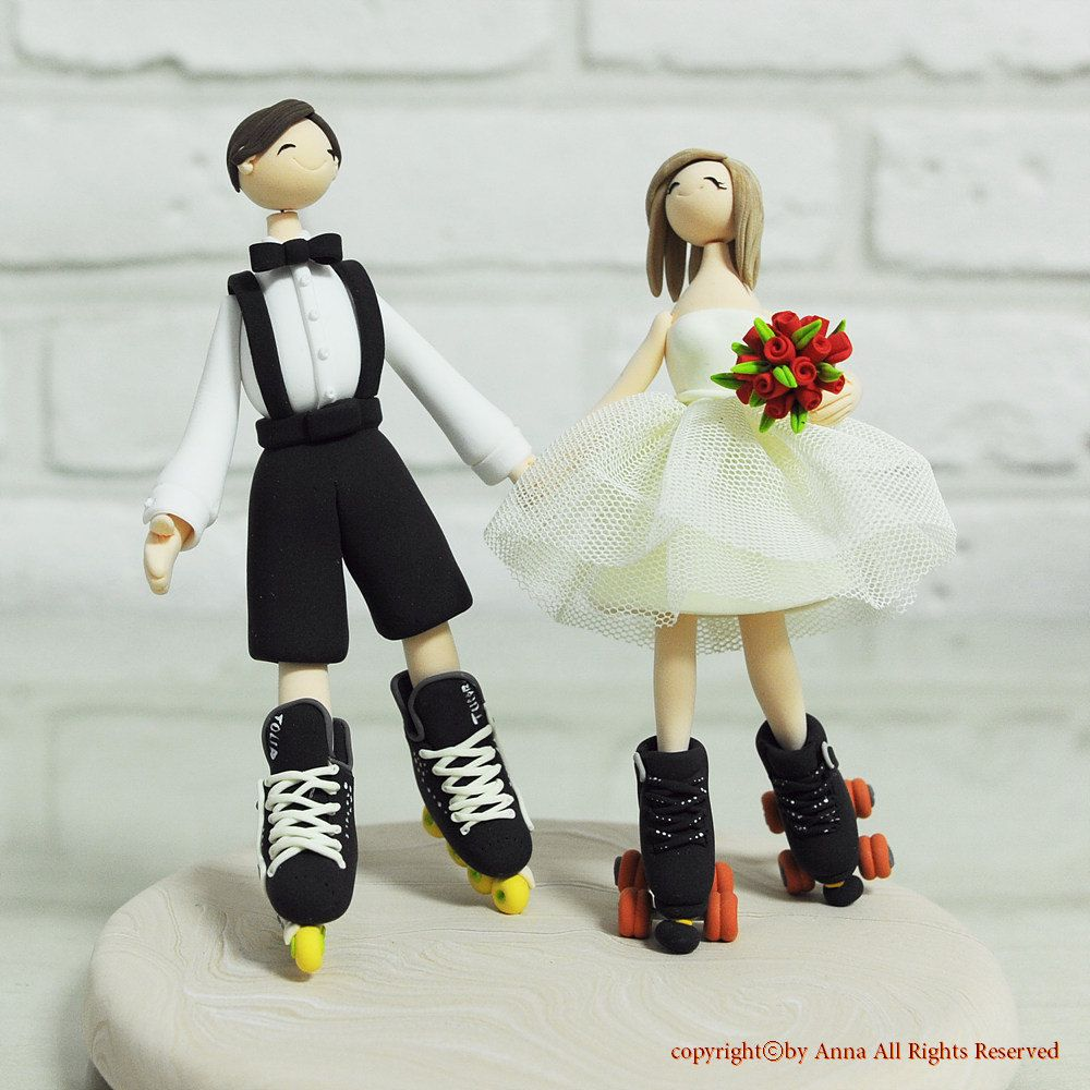 Roller skating rink lafayette in - Custom Wedding Cake Topper Playing Roller Blades And Skates Couple