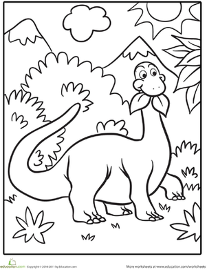Cute Dinosaur Worksheet Education Com Dinosaur Coloring Pages Dinosaur Coloring Preschool Coloring Pages