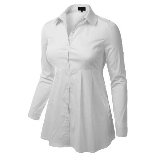 J.TOMSON PLUS Womens Flared A-Line Long Sleeve Button Down Shirt ...