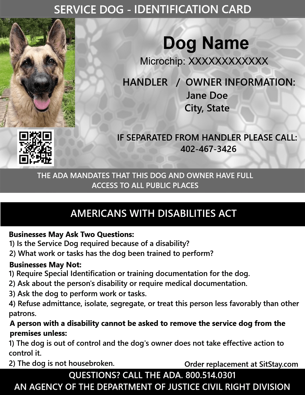 Id Card Service Dog With Holographic Security Seal Service Dogs Emotional Support Animal Medication For Dogs