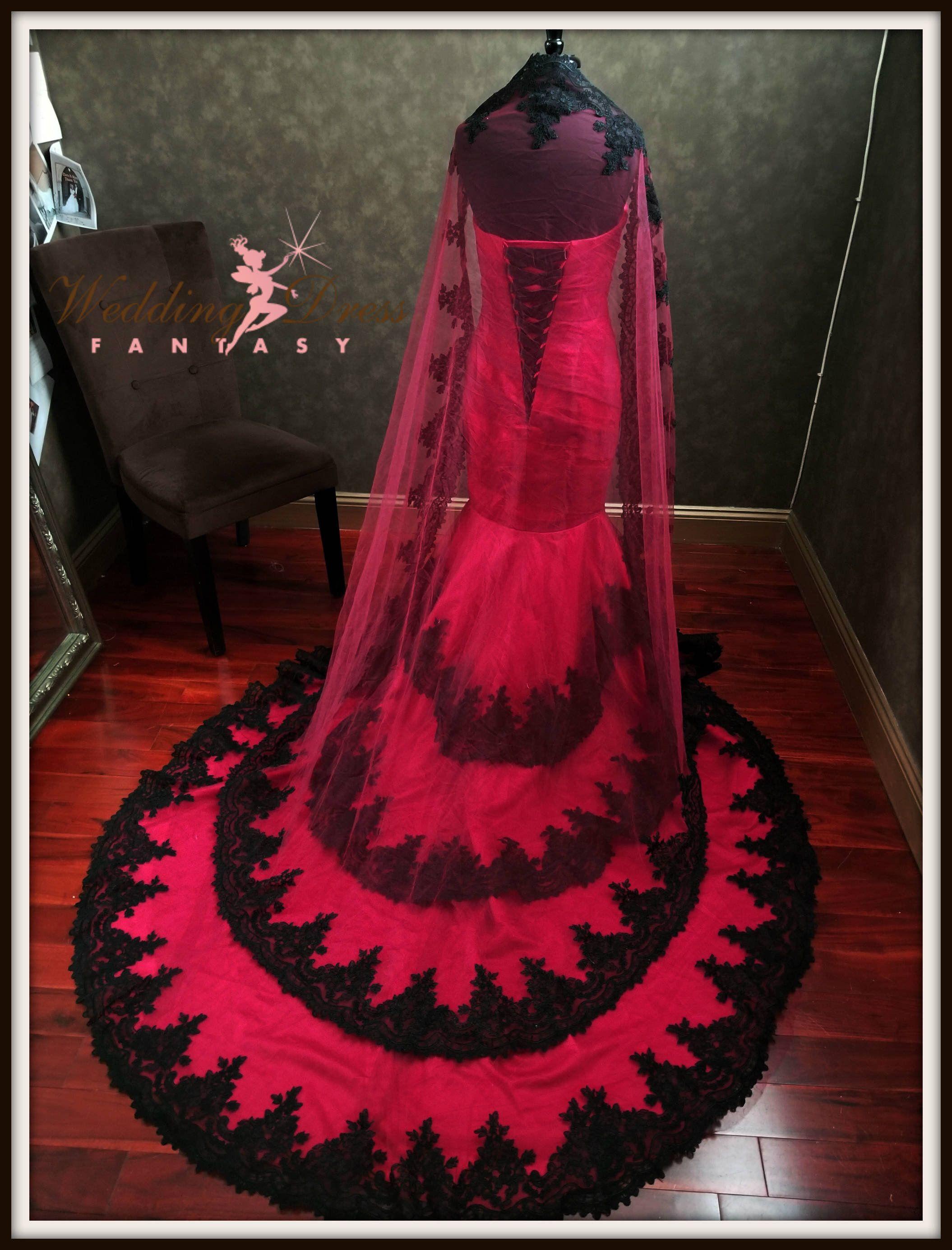 3df7db78c Red and Black Wedding Dress, Red Bridal Gown, Gothic Wedding Dress,  Alternative Wedding