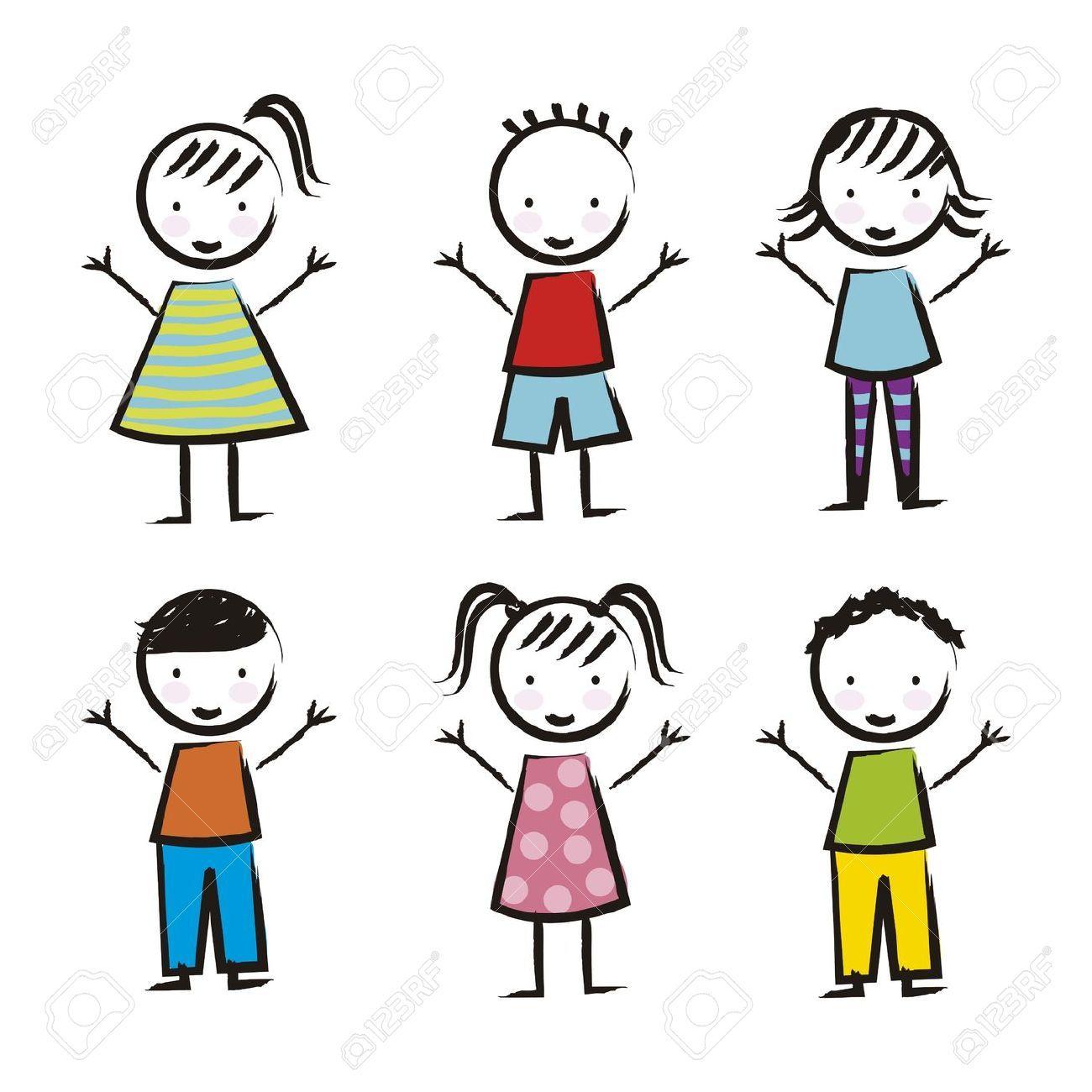 Niños Sobre Fondo Blanco, Dibujo. Vector Ilustraciones ...