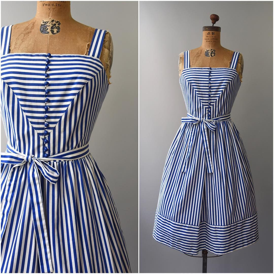 """3 Likes, 1 Comments - Sonja Gajic (@capsulevtg) on Instagram: """"NEW in the shop • 1970's blue and white striped sundress by Lanz (36-29-open) • so cute for summer!…"""""""