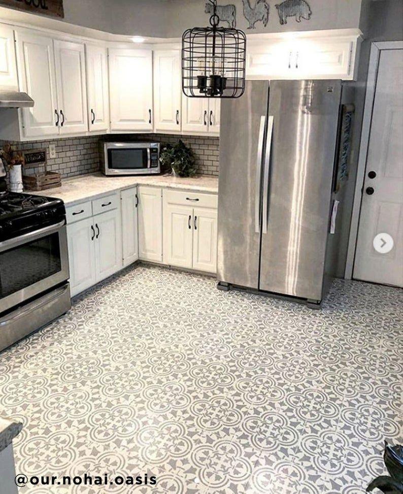 Augusta Tile Stencil Tile Stencils For Painting Diy Cement Etsy Kitchen Tile Diy Kitchen Flooring Kitchen Floor Tile
