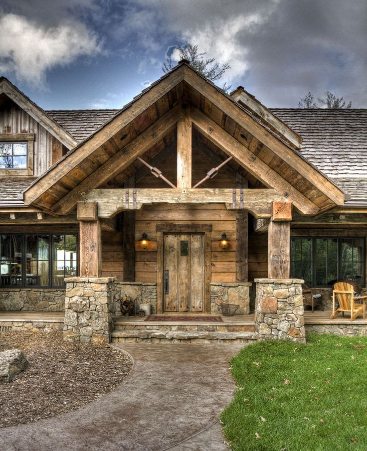 1000 Ideas About Timber Frames On Pinterest Beams Log Homes And Timber Frame Homes House Exterior Rustic House Front Porch Stone