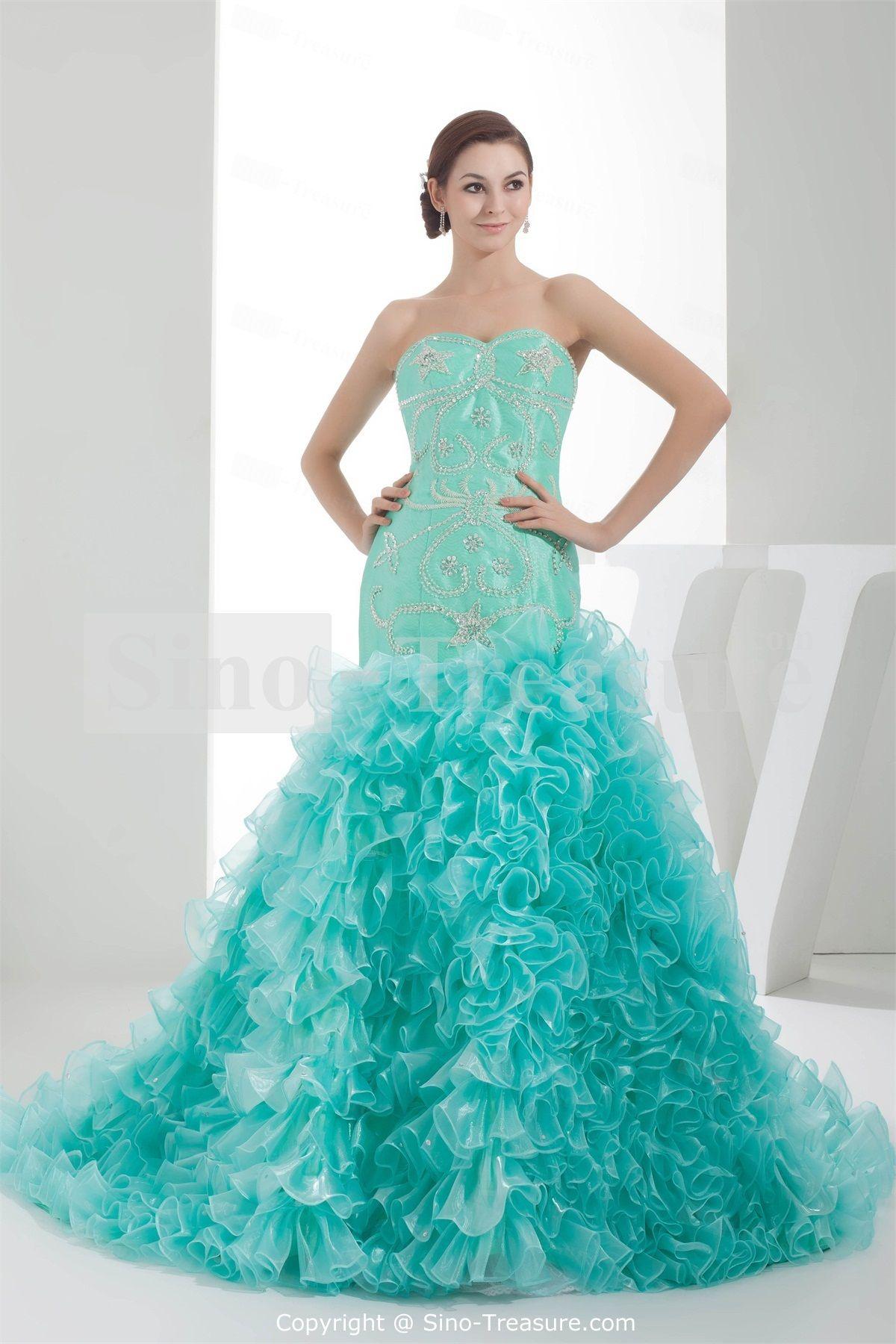 Fantastic Cyan A-Line Brush/ Sweep Train Sleeveless Evening Dress ...
