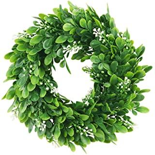 Amazon Com Small Boxwood Wreath Wreaths For Front Door Small Boxwood Wreath Leaf Wreath