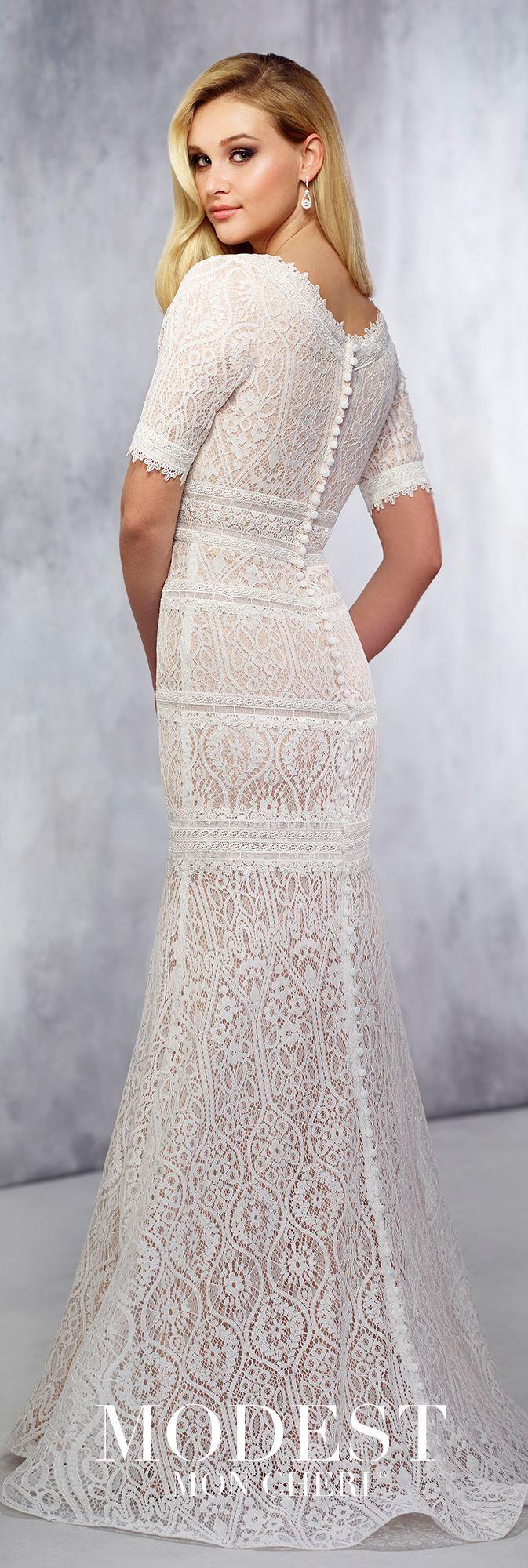 Lace Trumpet Wedding Gown - Modest by Mon Cheri TR21722   Modest ...