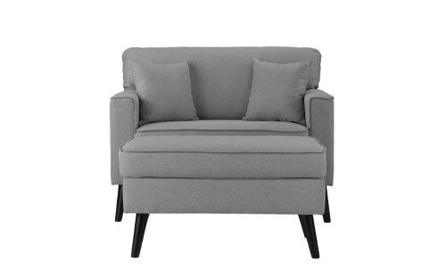 Best Mid Century Modern Large Accent Chair With Footrest Blue 400 x 300