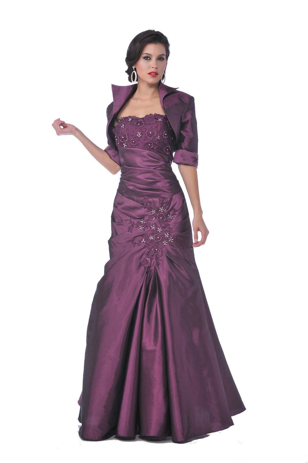 Long mother of the bride plus size dress jacket formal ball gown
