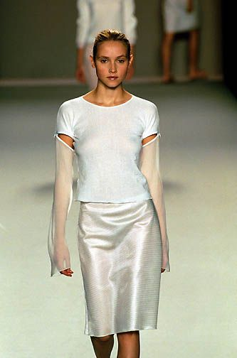 Vivienne Tam | Spring 2000 Ready-to-Wear | 90 White long sleeve top with sheer sleeveless and midi skirt