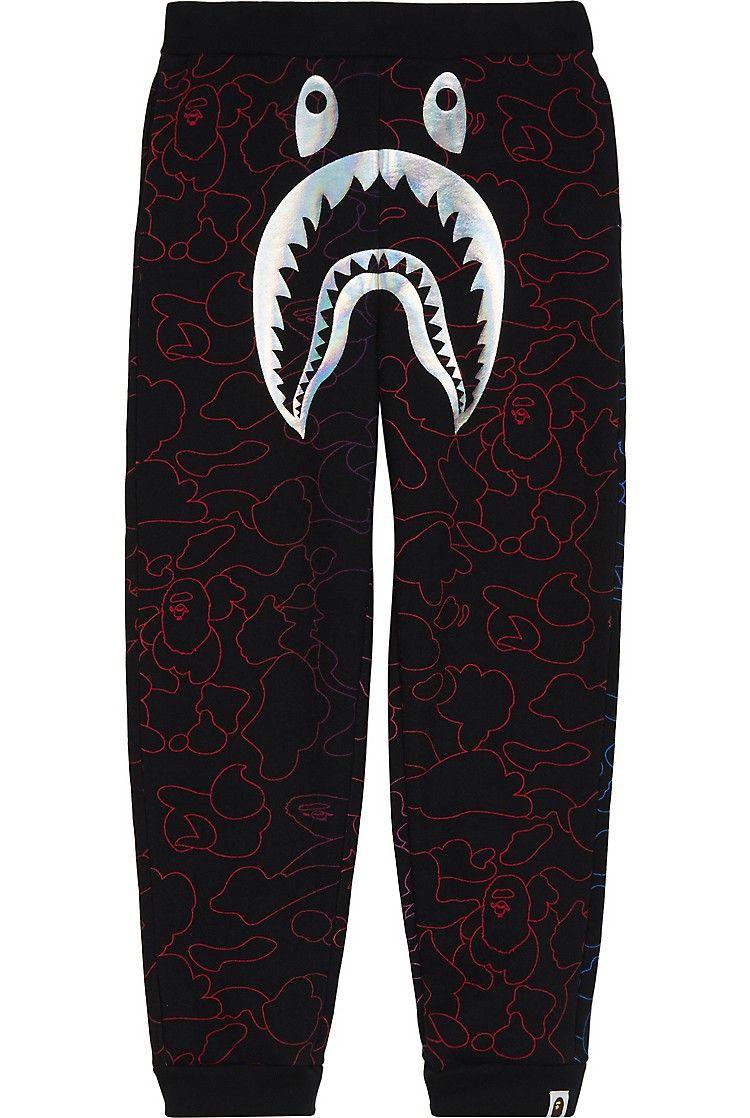 8c38306a4a31d3 A BATHING APE - Foil shark cotton tracksuit bottoms 4-8 years    Selfridges.com