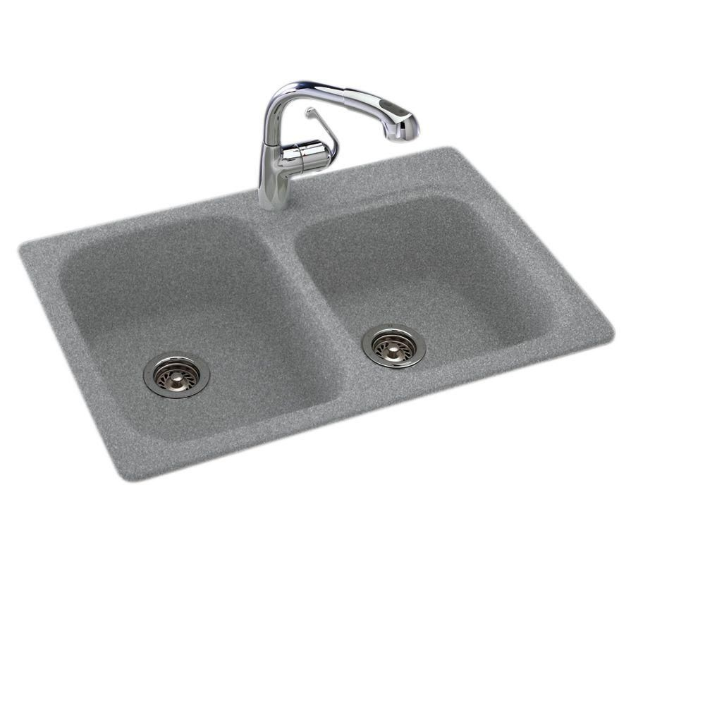 Dual Drop-in UnderMount Granite Composite 33 in. 1-Hole Double Bowl ...