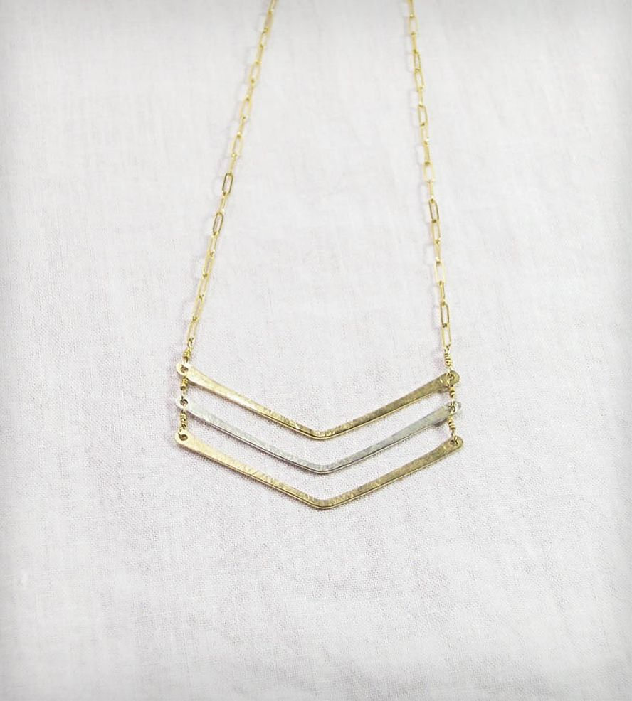 Hammered Gold & Silver Triple Chevron Necklace   Jewelry Necklaces   Machete   Scoutmob Shoppe   Product Detail