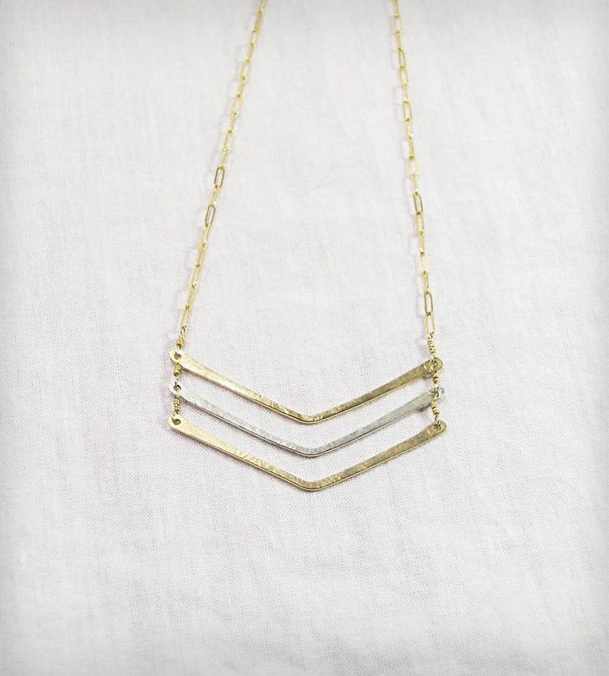 hammered gold   silver triple chevron necklace ... 9b80e696fe