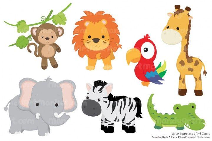 Cute Jungle Animal Clipart Vectors By Amanda Ilkov Animais Da Selva Girafa Aniversario Safari