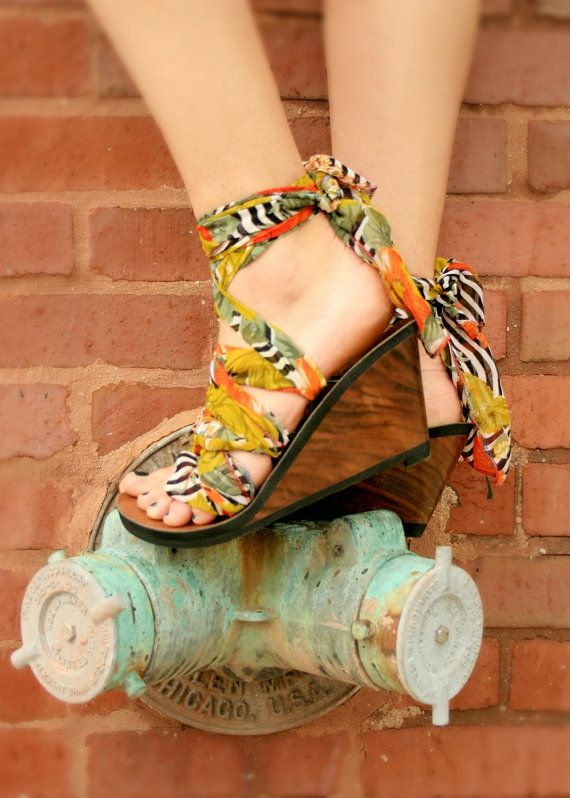 4534adf92fece High Wedge Ribbon Thong Sandal by Mohop | Handmade Shoe with 5 ...