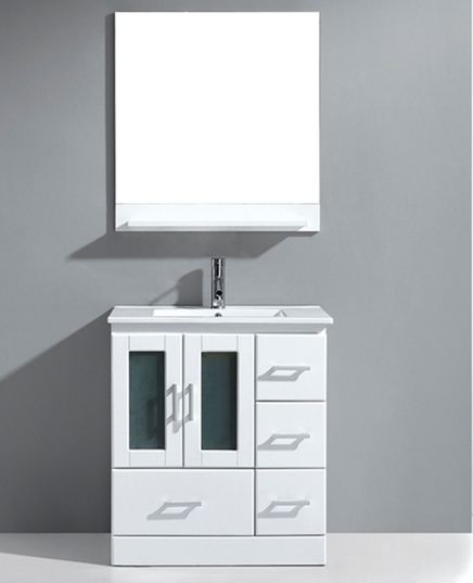 Avola 30 Inch Modern Single Sink Bathroom Vanity White Finish