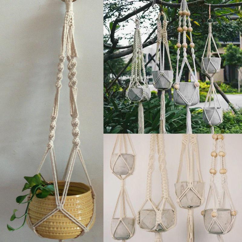 Indoor Macrame Plant Hanger Hanging Planter Basket Jute Rope Braided Craft