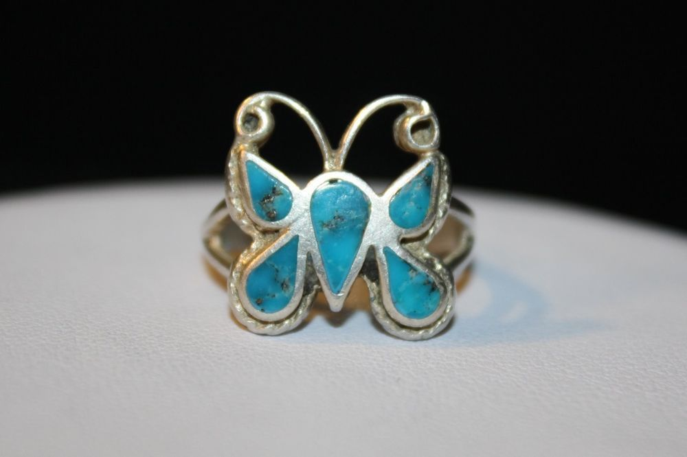 BEAUTIFUL VINTAGE ZUNI 925 STERLING SILVER TURQUOISE INLAY BUTTERFLY RING SIZE 6