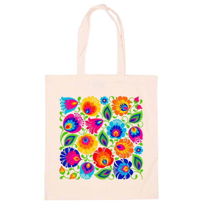 Bawelniana Torba Folk Na Zakupy Kwiaty Lowickie Bawelniana Folkowa Torba Ekologiczna Z Nadrukowanym Kwiatowym Wzorem Lowick Tote Bag Bags Reusable Tote Bags