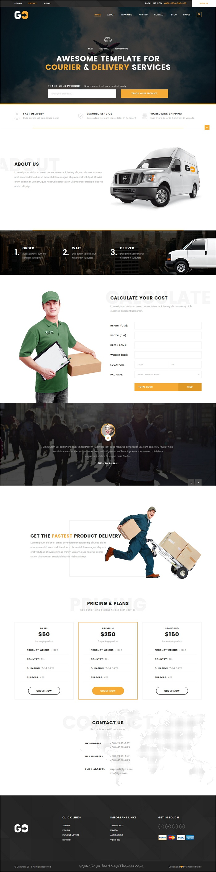 go a courier delivery service html template