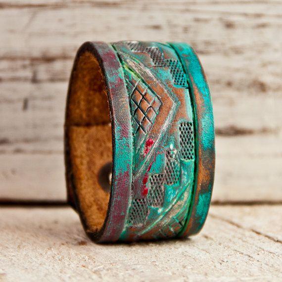 Tribal Native Bracelet Geometric Jewelry Primitive by rainwheel, $44.00