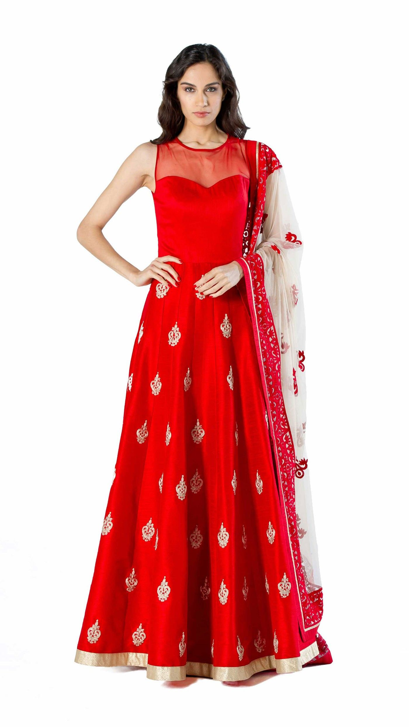 a3fdd1ac63 Red Raw Silk Gown | Indian Fashion | Dresses, Silk gown, Bridal ...