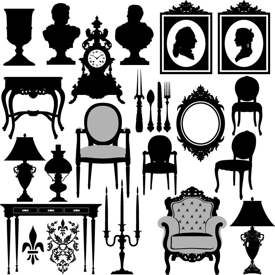 Antique chair silhouette -  Silhouettes Antique Furniture
