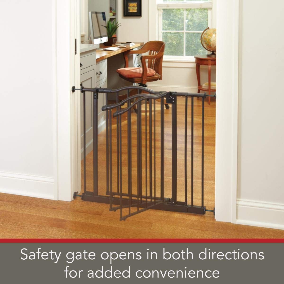 North States 38 25 Wide Portico Arch Baby Gate Decorative Heavyduty Metal Safety Gate With Onehand Operation And Dura Arch Gate Safety Gate Metal Construction